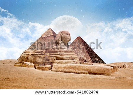 Sphinx Great Sphinx of egypt with pyramdis and Super Moon