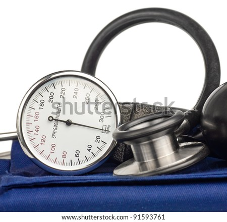 Sphygmomanometer and stethoscope kit used to measure blood pressure isolated on white