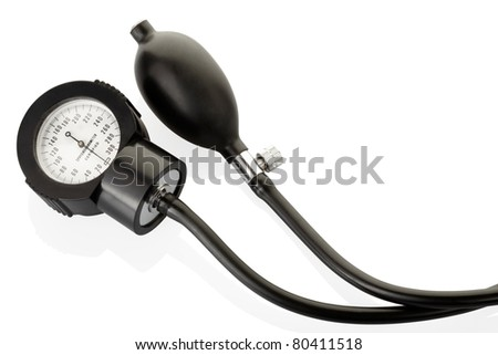 Sphygmomanometer, blood pressure medical instrument isolated on white, clipping path included