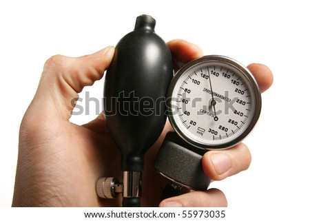 sphygmomanometer in hand