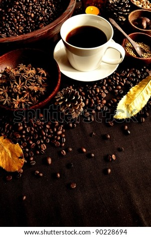 Spice and coffee cup.winter image