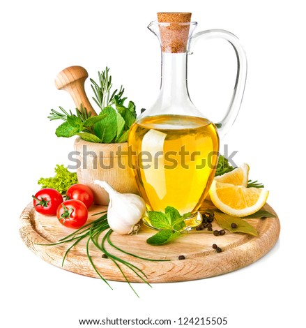 spice and spice with olive oil isolated on white background