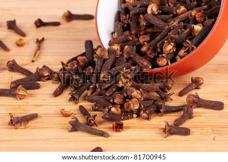spice cloves in a bowl isolated on white