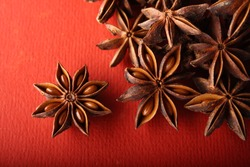 Spice ingredient  Aniseed in red background