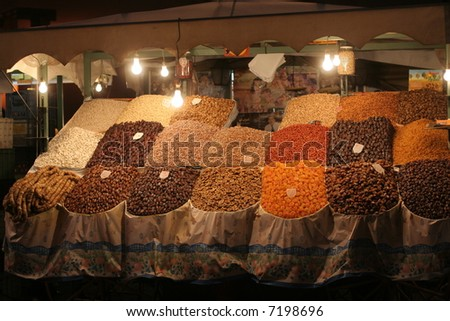 Spice market in Marrakesh, Morocco in famous Djemaa el Fna place