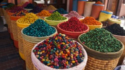 Spice shop on The Jemaa el Fna squre in Marrakesh. Morocco