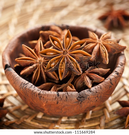 Spice star anise in a clay bowl