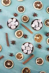 Spiced almonds with chocolate powder, traditional german christmas sweets with spices like cinnamon, anise, winter season