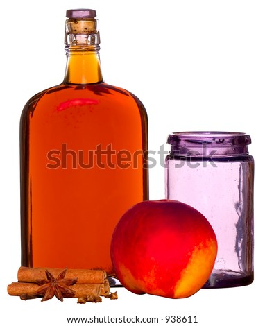 Spiced Peaches ~ Peach, Rum, Cinnamon And Cloves With Vintage Bottle & Fruit Jar ~ Turned Violet By Exposure to Sun ~ Includes Clipping Path