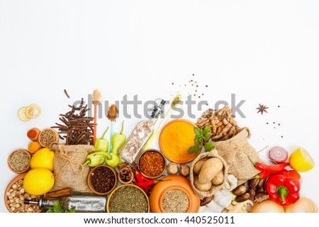 Spices and herbs for cooking on white background,Top view spices on white background,indian spices for making something food on the world,spices content,Various kinds of spices on white background
