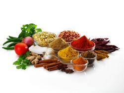 Spices and herbs in bowls. Food and cuisine ingredients. Colorful natural additives