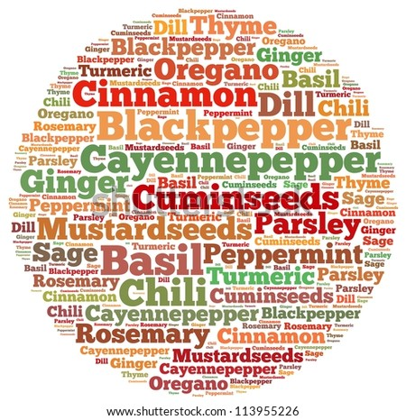Spices and Herbs info-text graphics and arrangement concept on white background (word cloud)