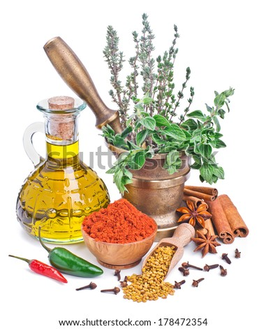 spices and herbs isolated on white background