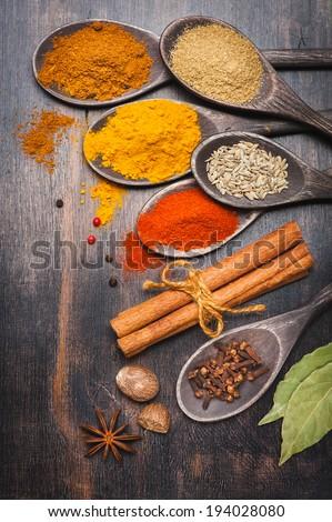 Spices and herbs on dark background. Paprika, turmeric, masala, cinnamon, coriander, nutmeg, star anise, bay leaf, cloves