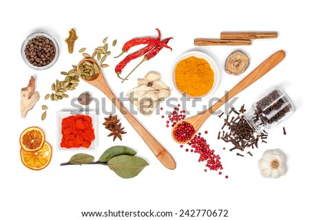 Shutterstock spices and herbs on white background. top view