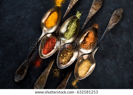 spices and herbs spoons
