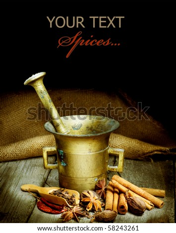 Spices and Mortar isolated on black.Vintage styled