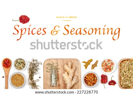 spices and seasoning on white background #227228770