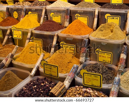 Spices and tea in the Istanbul Grand Bazaar.