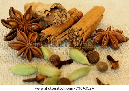 Spices - anise stars, cinnamon, cloves, cardamon and pepper