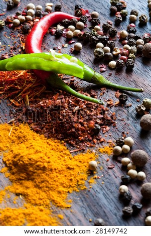 Spices are scattered on a table