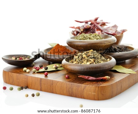 Spices Assortment On A Cutting Board, Close Up