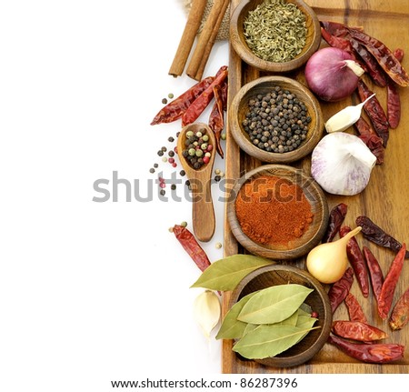 Spices Assortment On A Cutting Board, Top View - stock photo