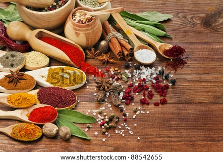 spices assortment on spoons in wooden background