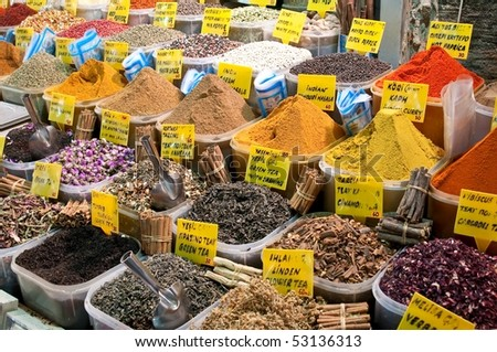 Spices at marketplace,  Istanbul, Turkey