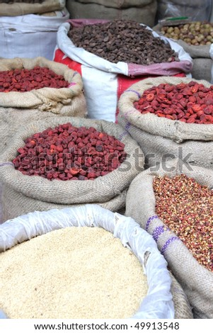 Spices at the indian spice market in Delhi