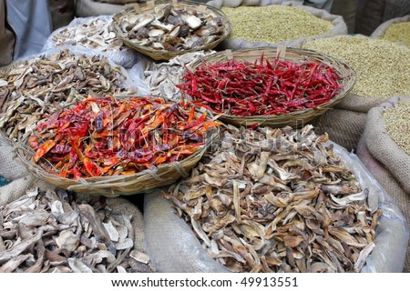Spices at the indian spice market in Delhi - stock photo
