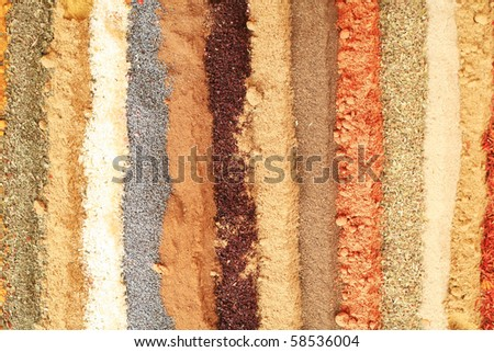spices background, Collection of different spice kinds as background