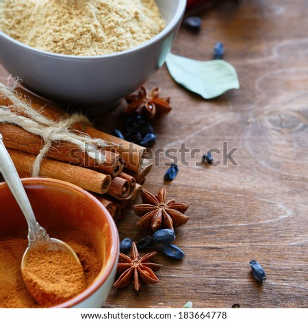 spices - cinnamon, ginger, anise, food closeup