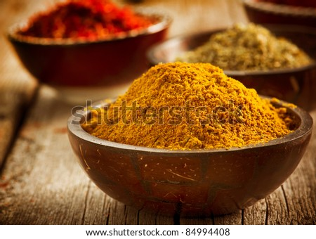Spices Curry,Saffron, Turmeric