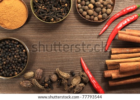 Spices frame in vintage style. Various kinds of whole spices - top. Cardamom, chilli and cinnamon