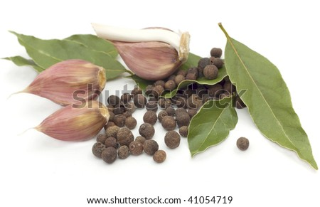 Spices - garlic, pepper, bay leaf isolated on white background