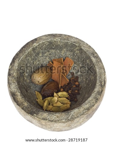 spices in a stone bowl isolated with clipping path