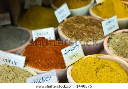 Spices in oriental maket (Horizontal, shallow depth of field, with name tags)