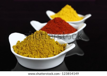 Spices in small white bowls. Includes curry powder, turmeric and pepper powder.