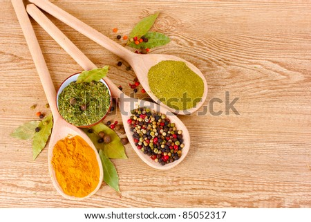 spices in the spoons on wooden background