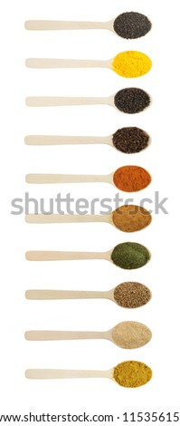 Spices in wooden spoons isolated on white