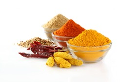 spices,Indian spices, color full spices in glass bowls