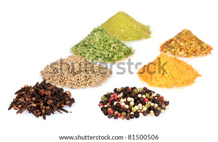 spices isolated on white