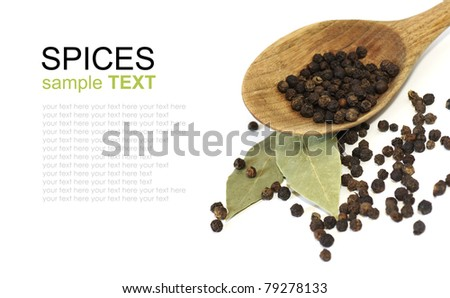 spices isolated on white background, black pepper, bay leaf