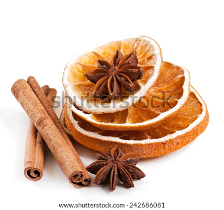 spices isolated on white background, star anise, cinnamon and dried orange