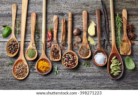 Spices on a wooden background