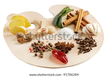 spices on a wooden palette isolated on white