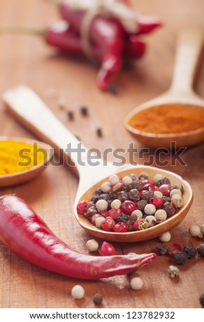 spices on a wooden table. Selective focus.
