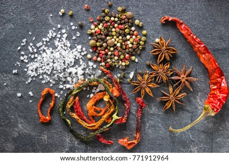 Shutterstock Spices on the stone black background. Condiments on a dark table. Seasoning for cooking. Seasoning mix.