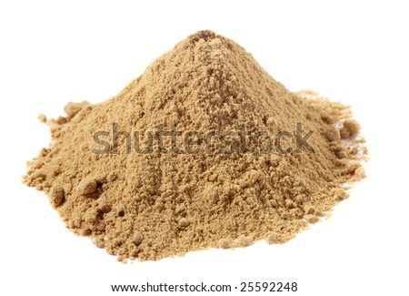 spices - pile of Ginger powder over white